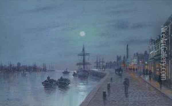 Moonlit View Of Hull Oil Painting - Wilfred Jenkins