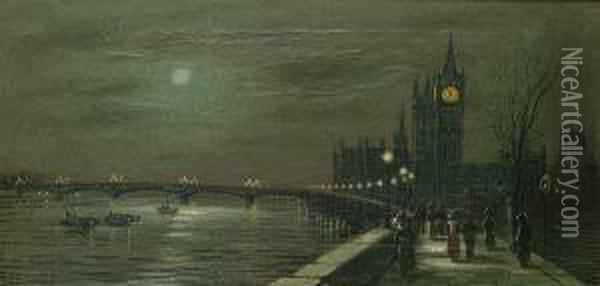 The Houses Of Parliament By Moonlight; The Thames By Moonlight Oil Painting - Wilfred Jenkins