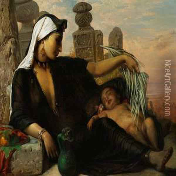 A Fellah Woman And Her Baby Are Taking A Rest In The Midday Heat Oil Painting - Anna Maria Elisabeth Jerichau-Baumann