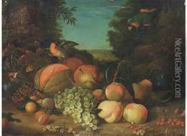 Still Life Of Grapes, Peaches,  Plums, Berries And A Melon, With Arobin And Parrot To The Side Oil Painting - William Jones Of Bath