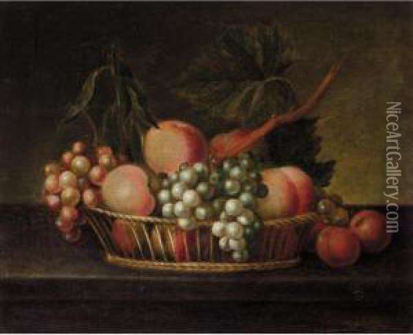 A Still Life Of Fruit In A Basket On A Ledge Oil Painting - William Jones Of Bath