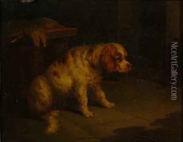 'a Spaniel In An Interior' And 'a Pointer With A Grouse' Oil Painting - Paul Jones