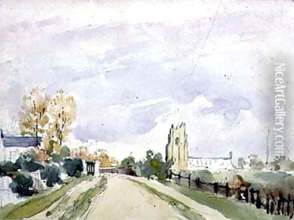 Suffolk Landscape, a wide Road with a small House, a Church and Trees Oil Painting - Thomas Churchyard