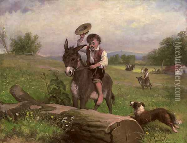 The stubborn donkey Oil Painting - James Cole
