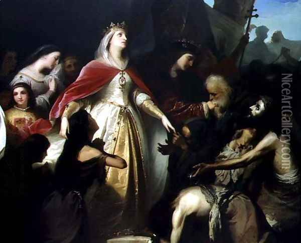 Detail of the Catholic Monarchs Receiving the Christian Captives after the Conquest of Malaga in 1487, 1867 Oil Painting - Eduardo Javier Ramon Cano de la Pena