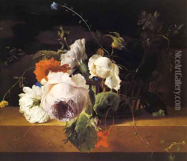 Roses, Carnations, and Assorted Wildflowers in a Basket on a Marble Ledge Oil Painting - Arthur Chaplin