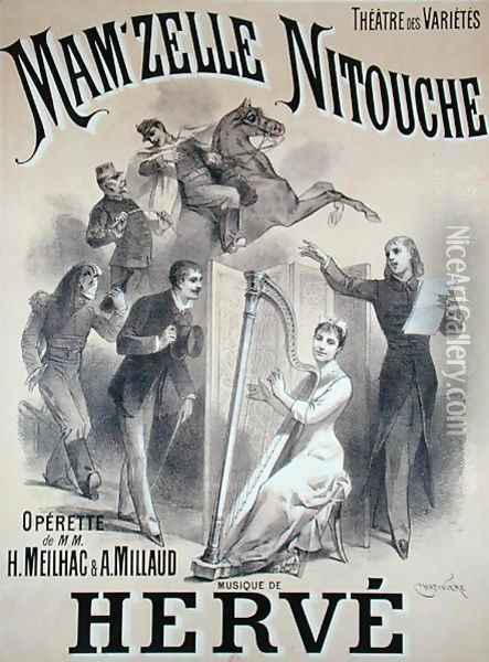 Poster advertising the production of 'Mam'zelle Nitouche', an operetta written by Meilhac and Millaud with music by Herve (1826-92), at the Theatre des Varietes, Paris, 1883 Oil Painting - Antonin Marie Chatiniere