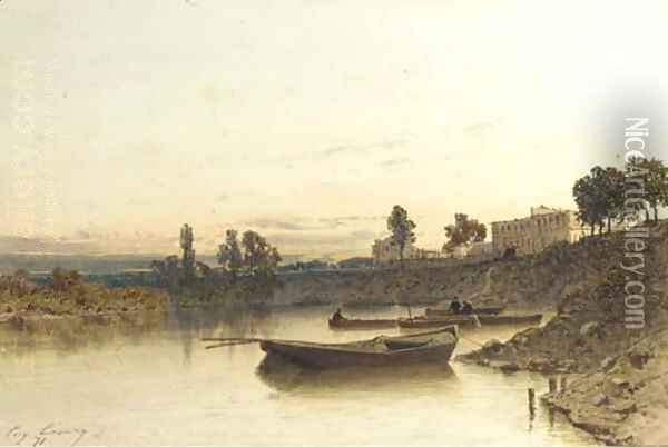 Boats on the river, a house on the riverbank beyond Oil Painting - Eugene Ciceri
