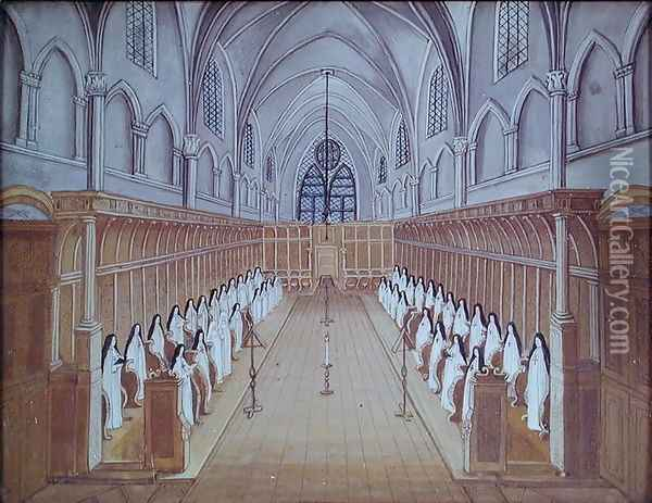 View of the Choir, from 'L'Abbaye de Port-Royal', c.1710 Oil Painting - Cochin, Louise Madelaine