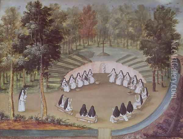 Nuns Meeting in Solitude, from 'L'Abbaye de Port-Royal', c.1710 Oil Painting - Cochin, Louise Madelaine