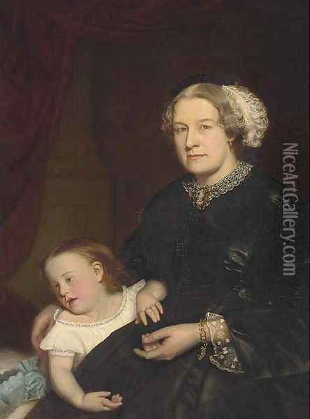 Portrait of a mother and child, seated three-quarter-length, the mother in a black dress with lace trimming, her daughter by her side Oil Painting - Hugh Collins