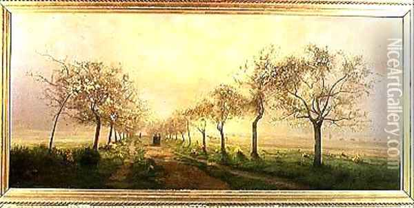 Apple Trees and Broom in Flower Oil Painting - Antoine Chintreuil