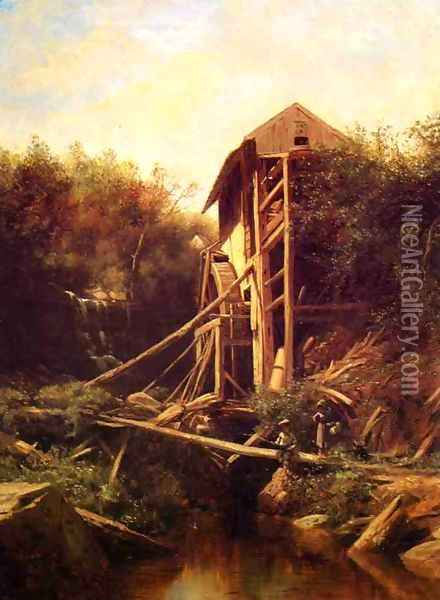Fishing by the Old Mill Oil Painting - George Lafayette Clough