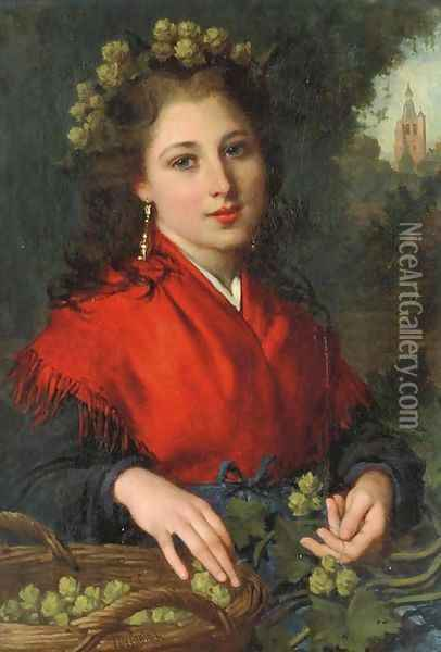 The Red Shawl Oil Painting - Pierre-Louis-Joseph de Coninck
