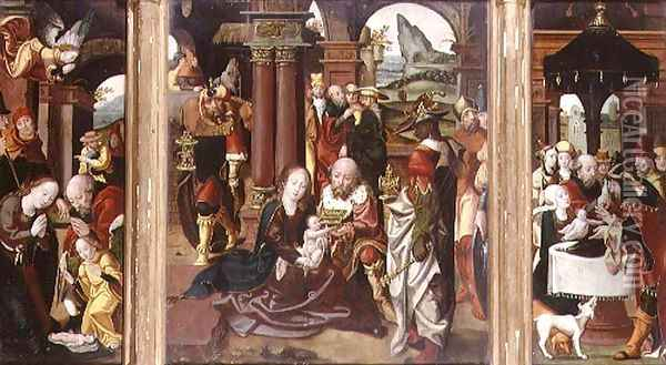Triptych:The Adoration of the Magi (central panel), The Nativity (LH panel), The Presentation in the Temple (RH panel) Oil Painting - Follower of Pieter Coeck van Aelst