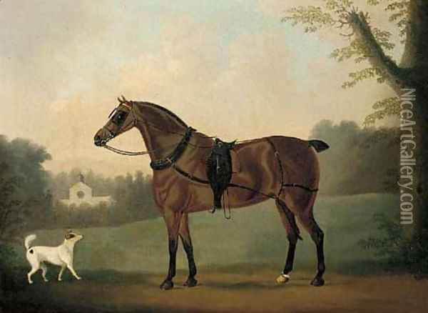 A liver chestnut carriage horse and a terrier in a park, a stable beyond Oil Painting - Daniel Clowes