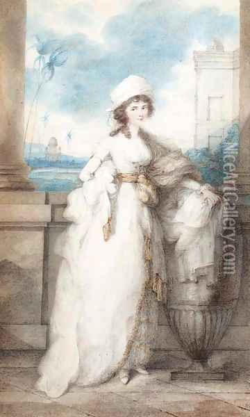 Portrait of a lady, standing on a balcony Oil Painting - George Chinnery