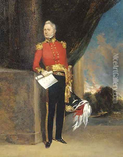 Portrait of an officer, small full-length, in uniform, holding the plan to a fort, a landscape beyond Oil Painting - George Chinnery