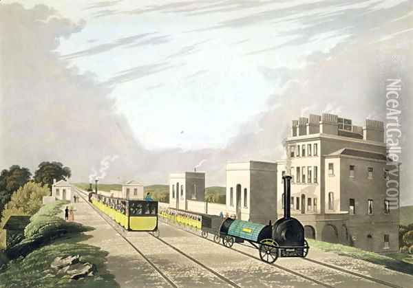 View of the Manchester and Liverpool Railway, taken at Newton, 1825 Oil Painting - Charles Calvert