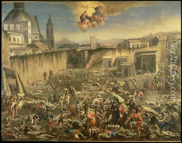 The Marketplace in Naples During the Plague of 1656 (2) Oil Painting - Carlo Coppola