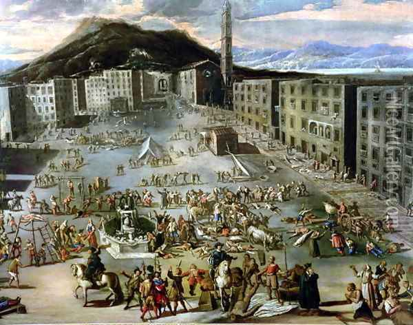 The Marketplace in Naples During the Plague of 1656 Oil Painting - Carlo Coppola