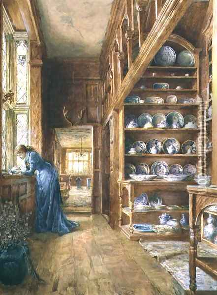 Interior of a panelled house with a collection of Imari and Blue and White Porcelain Oil Painting - Ellen Clacy