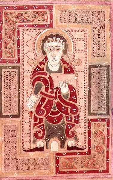 The figure of St. John the Evangelist holding a book, page proceeding the Gospel of St. John, from the MacDurnan Gospels, Armagh Oil Painting - Celtic
