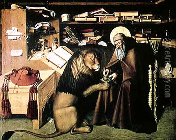 St. Jerome Removing a Thorn from the Lion's Paw c.1445 Oil Painting - Niccolo Antonio Colantonio