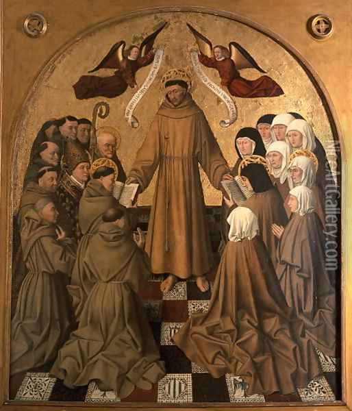St. Francis Giving the Rule to his Disciples (panel from the Pala di Rocca) Oil Painting - Niccolo Antonio Colantonio