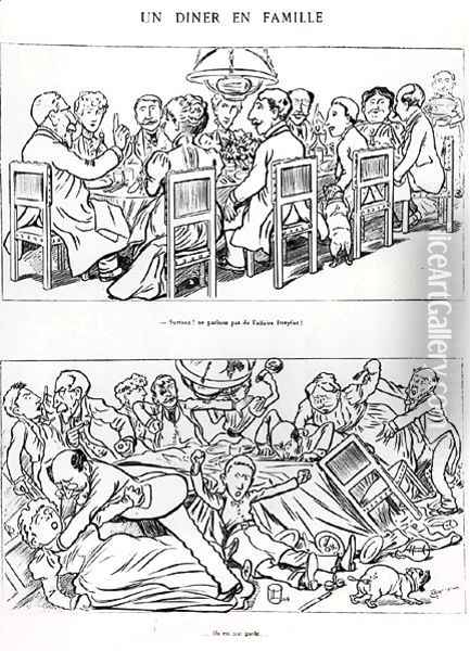 Caricature of a family dinner before and after having talked about the Dreyfus Affair, c.1894 Oil Painting - (Emmanuel Poire) Caran d'Ache
