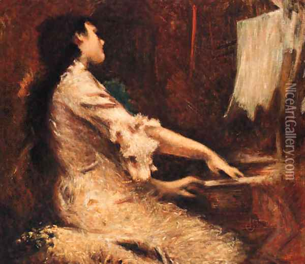 The young Pianist Oil Painting - Luigi Conconi