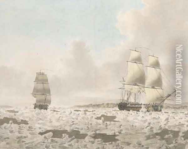 H.M.S. Racehorse searching for the North West Passage in 1773 Oil Painting - John the Younger Cleveley