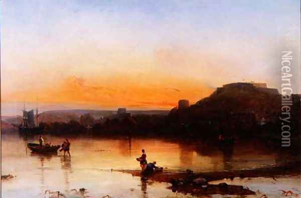 Fort Regent at Sunset Oil Painting - Alfred Clint