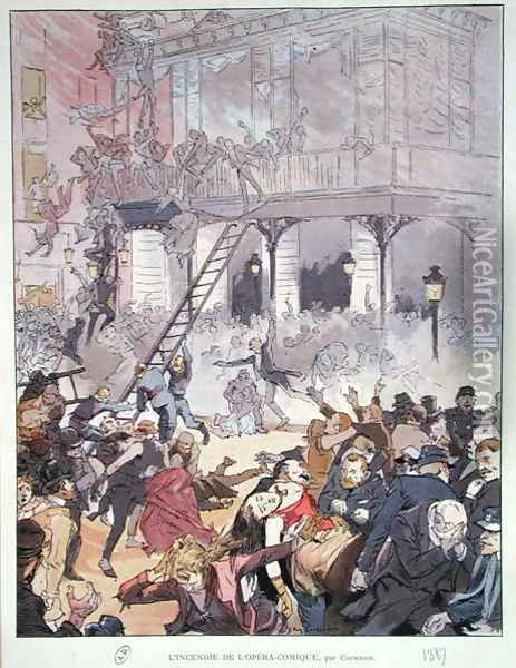 Fire at the Opera Comique, 25th May 1887 Oil Painting - Eugene Courboin