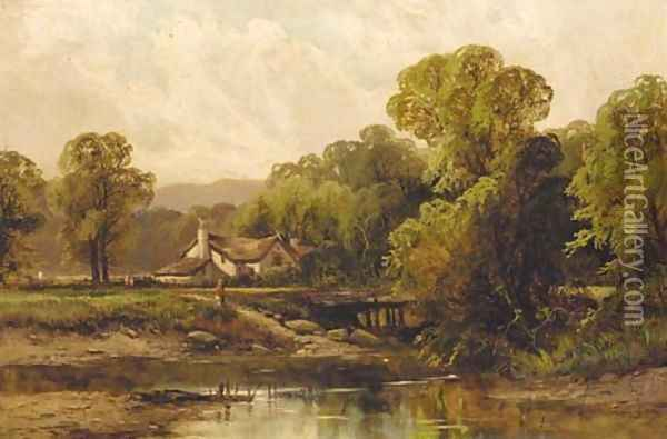 Figures before a cottage in a wooded river landscape Oil Painting - Octavius Thomas Clark