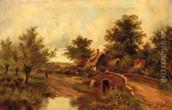 Figures on a track before a cottage Oil Painting - Octavius Thomas Clark