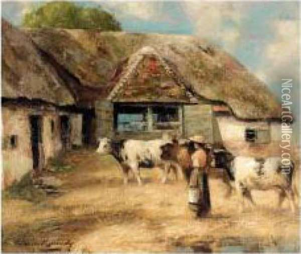 Milking Time Oil Painting - William Kennedy