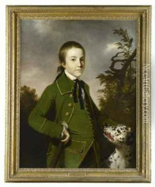 Three Quarter Length Portrait Of Edward Jeremiah Curteis With Dog Oil Painting - Tilly Kettle