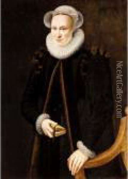 A Portrait Of A Lady,  Three-quarter Length, Wearing A Black Coat And A White Ruff, Holding A  Book Oil Painting - Adriaen Thomasz Ii Key