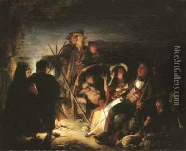 By The Camp Fire Oil Painting - William Kidd