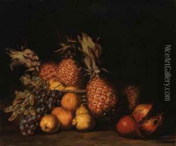 Pomegranate, Grapes And Pineapples Oil Painting - Charles Bird King