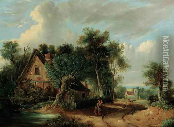 A wooded river landscape with figures before a cottage Oil Painting - Samuel David Colkett