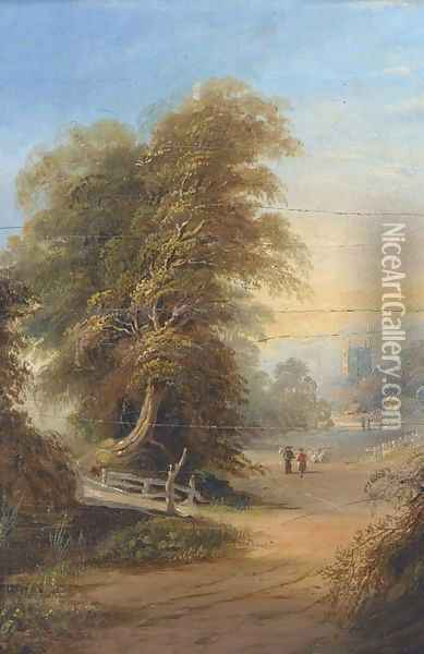 Figures on a wooded track with a church tower beyond Oil Painting - Samuel David Colkett
