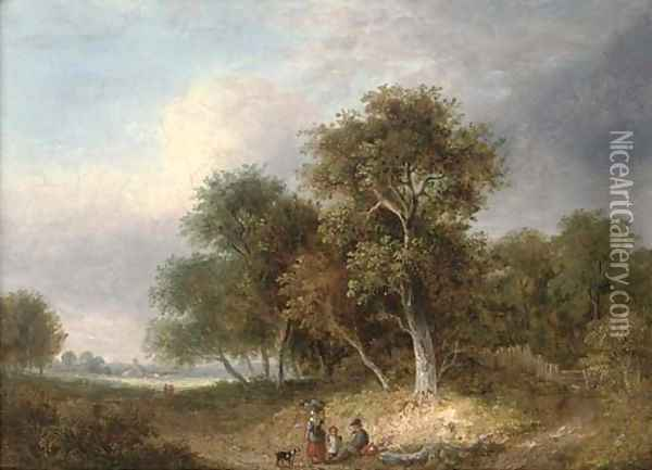 A rest by the wayside Oil Painting - Samuel David Colkett