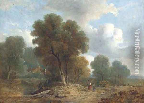 Figures on a wooded track, a cottage beyond Oil Painting - Samuel David Colkett