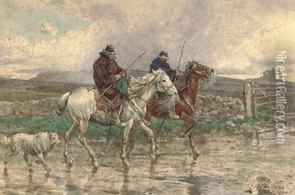Butteri in the rain in the Roman campagna Oil Painting - Enrico Coleman