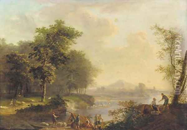 A Rhenish river landscape with peasants loading a barge Oil Painting - Louis Chalon