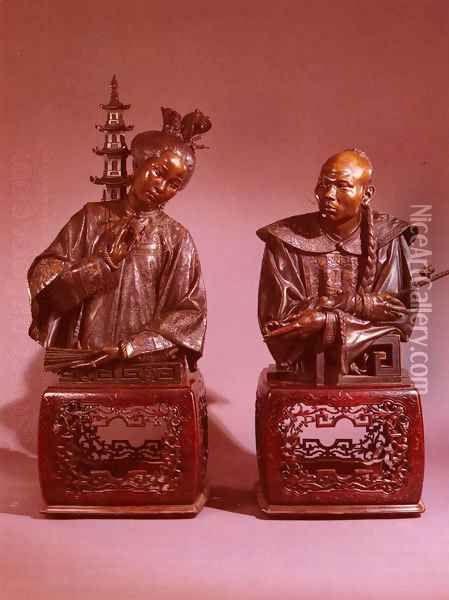 Epoux Chinois, A Pair of Busts (The Chinese Couple, A Pair of Busts) Oil Painting - Charles Henri Joseph Cordier