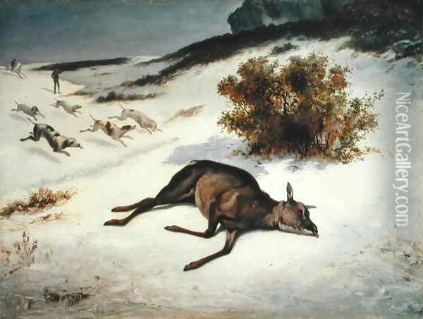 Hind Forced Down in the Snow, 1866 Oil Painting - Gustave Courbet