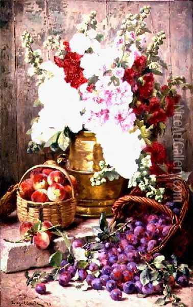 Still life with flowers in a brass urn and fruit in baskets, 1898 Oil Painting - Eugene Claude